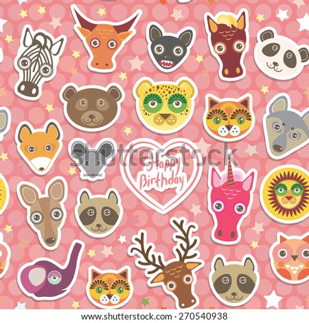 Seamless pattern Funny Animals White heart on pink Polka dot background. Happy birthday. Vector - stock vector