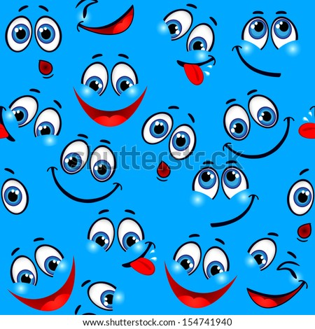 Seamless pattern - funny faces on a blue background  - stock vector