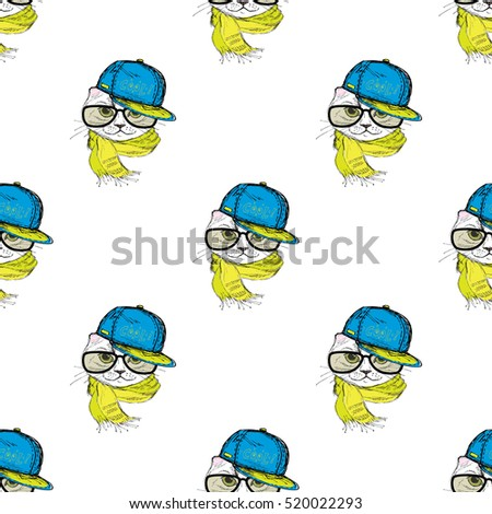 Seamless pattern Funny fashion cat in a cap,scarf and glasses. Hand drawn.Vector illustration
