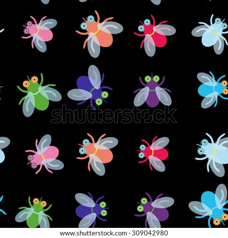 Seamless pattern Funny fly colorful red green blue violet pink with transparent wings on black background. Vector - stock vector