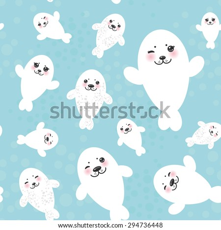 Seamless pattern Funny white fur seal pups, cute winking seals with pink cheeks and big eyes. Kawaii albino animals on blue background. Vector - stock vector