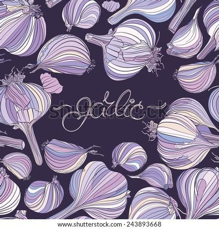 Seamless pattern - garlic, different garlic bulbs on dark purple background. Hand drawing. - stock vector