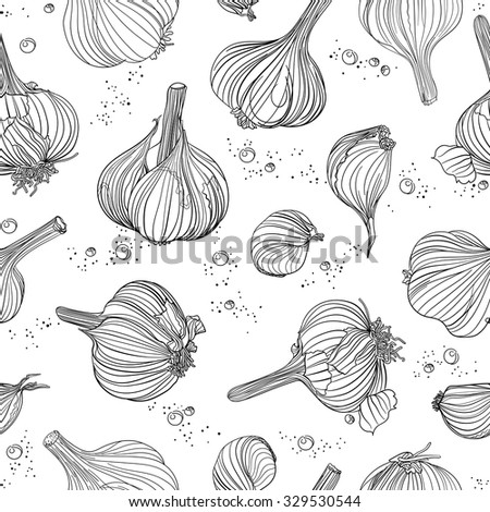 Seamless pattern - garlic, outline objects on white. Freehand drawing. - stock vector