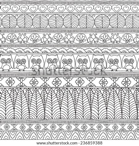 Seamless Pattern Geometric Floral Ethnic Owl Black&White - stock vector