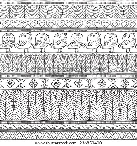 Seamless Pattern Geometric Forest Ethnic Birds Black&White - stock vector