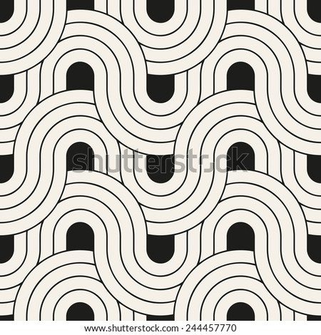 Seamless pattern. Geometric striped ornament. Stylish monochrome background. Vector repeating texture with winding ribbons - stock vector