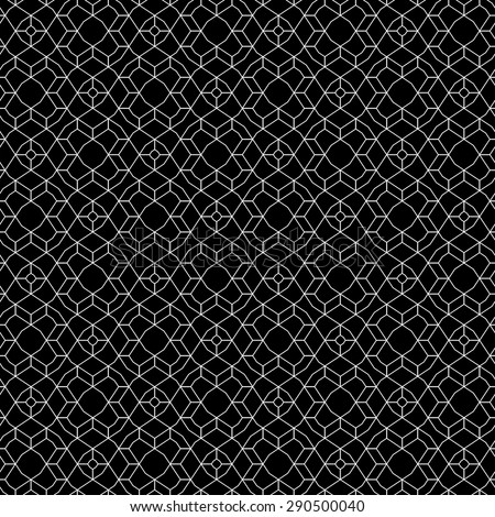 Seamless pattern. Geometrical linear texture. Repeating thin broken lines, polygon, difficult polygonal shapes. Original black and white pattern. Backdrop. Web. Vector element of graphic design - stock vector