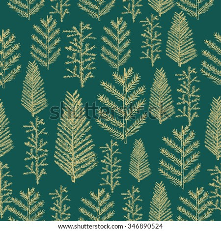 Seamless pattern gold christmas tree fir pine vector on green background. Vector illustration hand drawn - stock vector