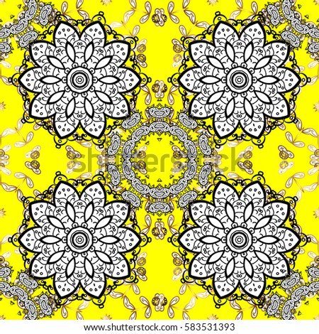 Golden Floral Wallpaper Gold Yellow Ornament In Baroque Style