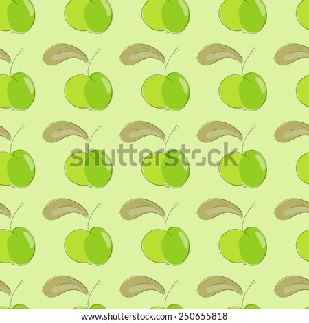 seamless pattern green apple with brown leaf. vector  illustration. vector wallpaper. design element. - stock vector