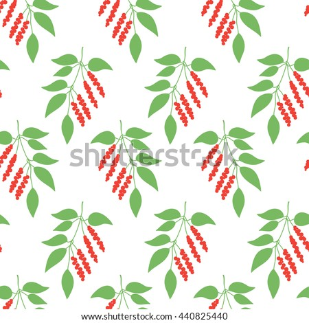 Seamless pattern green leaves of Chinese Schisandra . Floral background. Vector illustration. - stock vector