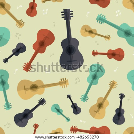 Seamless pattern guitar music retro wallpaper background vector