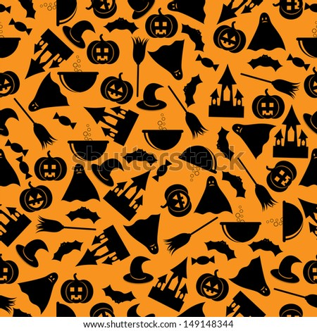 seamless patternhalloween backgroundhalloween black symbols on an orange backgroundvector - Black And Orange Halloween