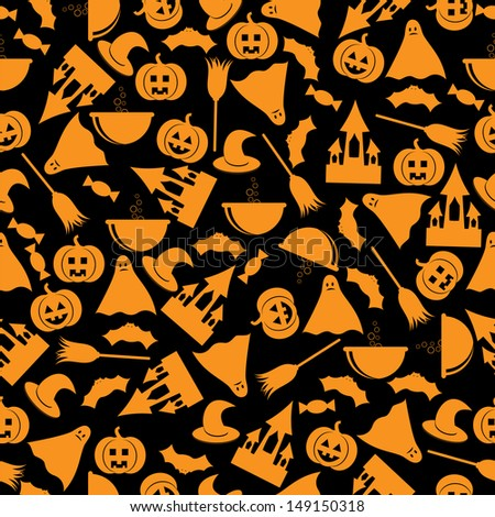 seamless patternhalloween backgroundhalloween orange symbols on an black backgroundvector - Black And Orange Halloween