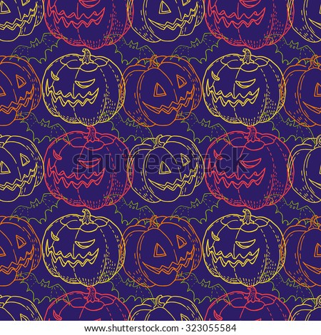 Seamless pattern Halloween. Pumpkin