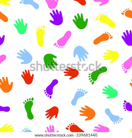 Seamless pattern hand and foot colorful prints. Element for design of children books, magazines, greeting cards, invitations, t-shirts, and other projects
