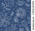 Seamless pattern, hand drawing, floral - stock