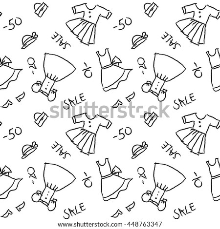 Seamless pattern hand drawing with black contour of women's dresses, shoes and accessories on the white background
