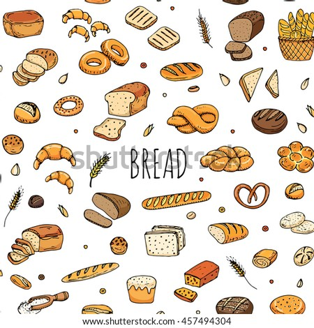 Seamless pattern hand drawn doodle of cartoon food: rye bread, whole grain bread, bagel, sliced bread, french baguette, croissant, sandwich. Bread set. Vector illustration. Sketch elements collection. - stock vector