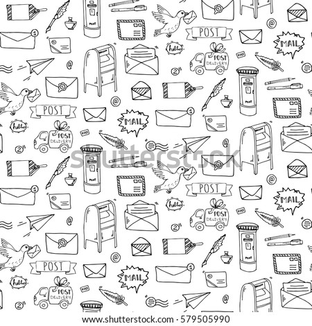 Seamless pattern hand drawn doodle postal stock photo photo vector seamless pattern hand drawn doodle postal elements icon set vector illustration isolated post symbols spiritdancerdesigns Gallery