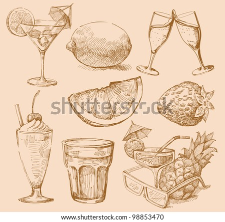 seamless pattern hand drawn drink - stock vector