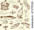 seamless pattern-hand drawn sea food - stock photo
