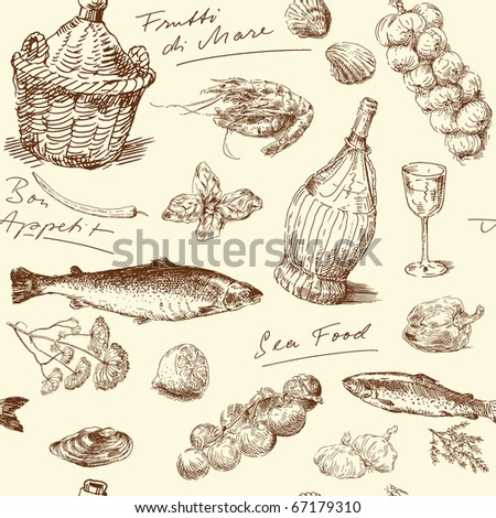 stock vector seamless pattern hand drawn sea food 67179310 - Каталог — Фотообои «Еда, фрукты, для кухни»
