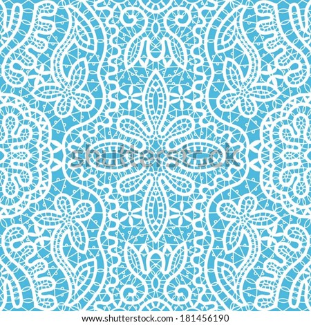 Seamless pattern, hand drawn sketch background, retro floral and geometric ornament, vector lace texture, abstract decoration white on blue - stock vector
