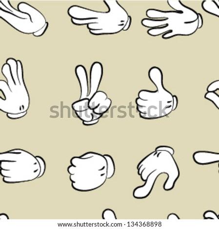 seamless pattern.  hands doodle set - stock vector