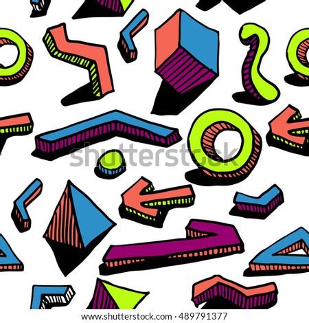 Seamless pattern. Hands draw colorful geometric elements for your design. Memphis style. Vector illustration. Cool modern illustration.