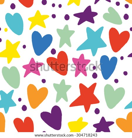 Seamless Pattern Hearts and Stars Back to School Sketchy Notebook Doodle Design- Hand-Drawn Vector Illustration Background