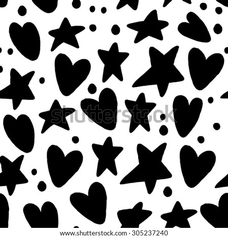Seamless Pattern Hearts and Stars Back to School Sketchy Notebook Doodle Design- Hand-Drawn Vector Illustration Background - stock vector