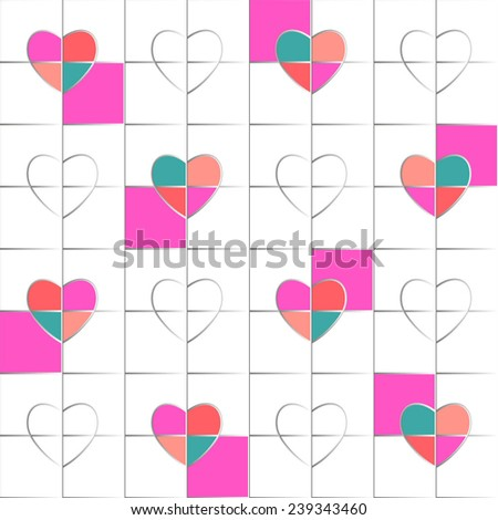 Seamless pattern hearts pop art, gift wrapping paper, candy wrapper, wallpaper, textile design, holiday decoration, bath curtain