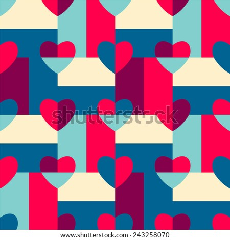 Seamless pattern hearts pop art red, green, yellow, pink, gift wrapping paper, candy wrapper, wallpaper, textile design, festive ornament, bath curtain - stock vector