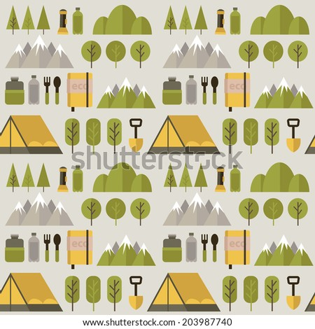 Seamless pattern hike. Pattern on a light background. Flat design. - stock vector