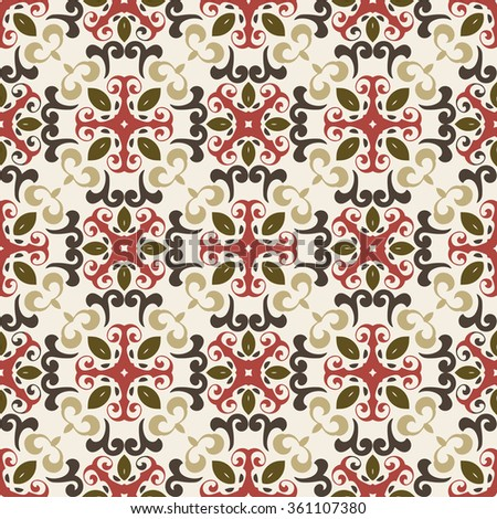 Seamless pattern illustration in marsala-brown-beige colors - like retro tiles - stock vector