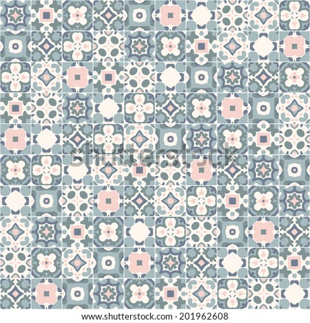 Seamless pattern illustration in traditional style - like Portuguese tiles - stock vector