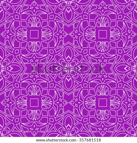 Seamless pattern in arabic style. Intersecting curved elegant lines and scrolls forming abstract floral ornament. Arabesque.purple - stock vector