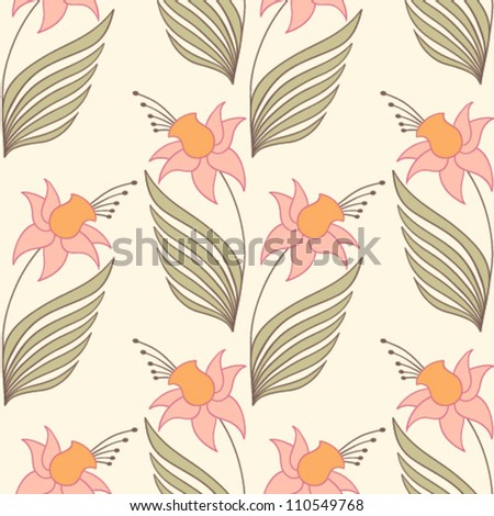 Seamless pattern in Art nouveau style - stock vector