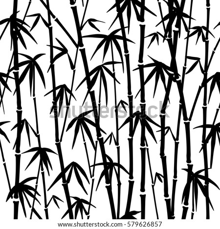 Seamless pattern in black and white of the bamboo stalks
