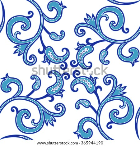 Seamless pattern in blue colors. Vintage paisley ornamental background. Floral filigree motifs. Vector illustration