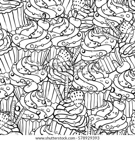 Seamless Pattern Doodle Style Black White Stock Vector 578929393 ...