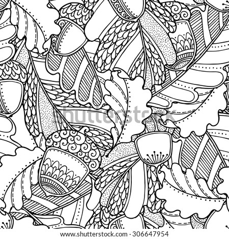 Seamless pattern in doodle style. Floral, ornate, decorative, tribal  vector design elements. Black and white monochrome background. Oak leaves and acorns. Zentangle hand drawn coloring book page - stock vector