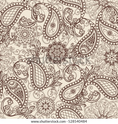 Seamless pattern in ethnic traditional style. The pattern of mandalas, flowers and Paisley pattern in Oriental style.