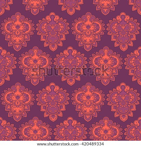 Seamless pattern in indian style. Floral vector illustration