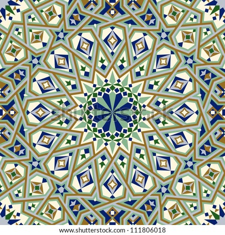 Seamless pattern in Moroccan style. Casablanca mosque detail. Mosaic tile. Islamic traditional ornament. Geometric background. Vector illustration.  - stock vector
