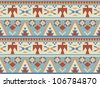 Seamless pattern in native American style #2 - stock vector