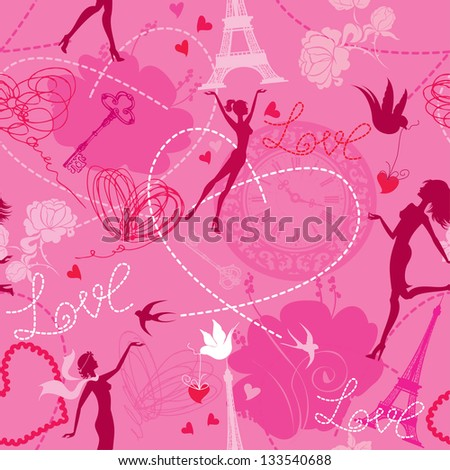 Seamless pattern in pink colors - Silhouettes of fashionable girls, hearts and birds. Love dreams in Paris. - stock vector