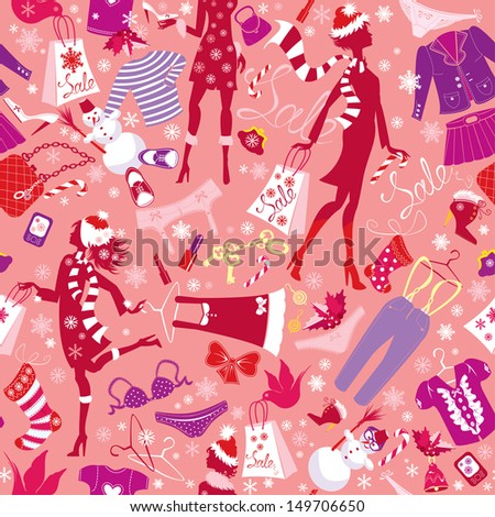 Seamless pattern in pink colors - Silhouettes of fashionable girls with colorful glamor clothes and accessories in Christmas Sale time - stock vector