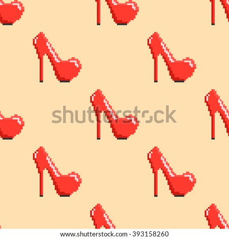 Seamless pattern in pixel art. Vector illustration with modern red shoes on high heels. - stock vector